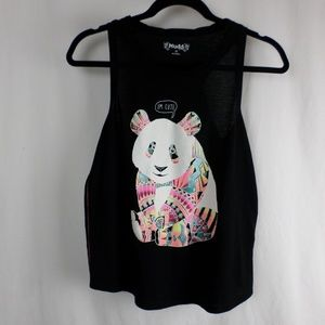 Mudd Shirts & Tops - Black I'm Cute Panda Ruched Tank Top -Girls XXL/16